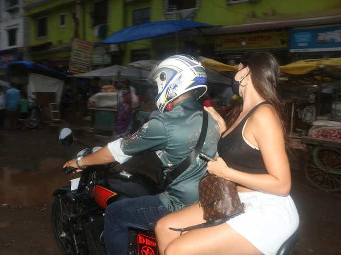 Nora Fatehi enjoying a bike ride