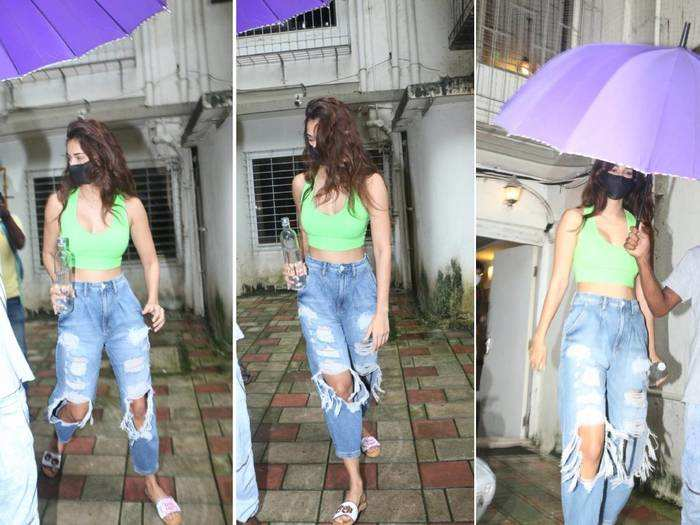 disha patani looks glam up in green crop bustier top and ripped jeans