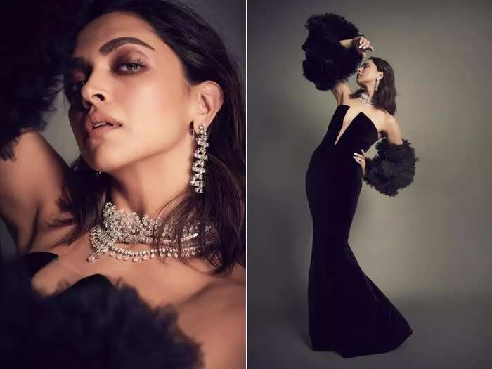 actress deepika padukone wore black colour sheer faux leather combo at gq best dressed awards