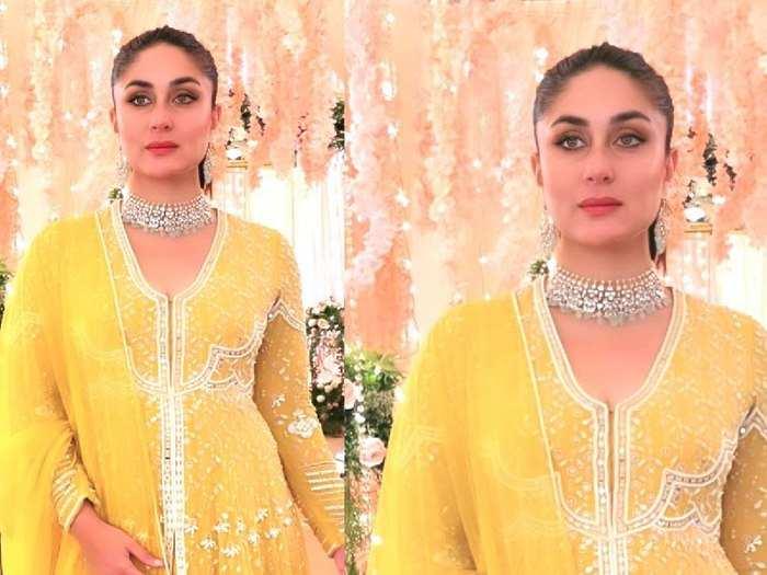 kareena kapoor looks drop dead gorgeous in golden yellow embrioderd anarkali set