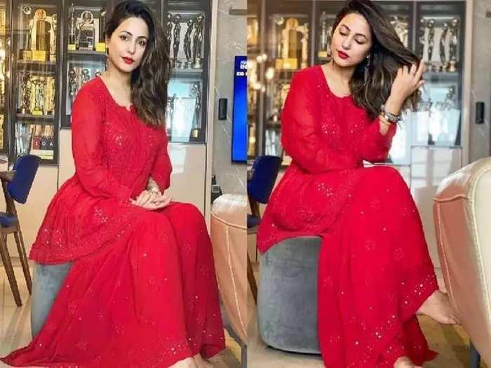 actress hina khan looking hot and glamorous in red colour chikankari gharara set with bold red lips