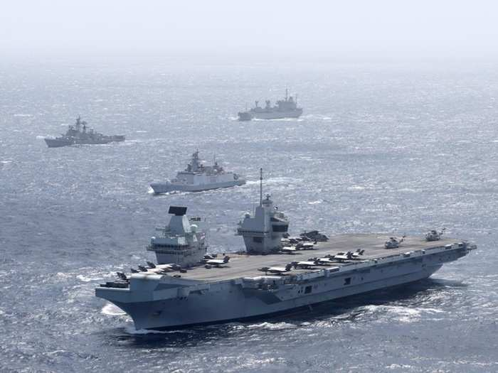 indian navy royal navy participates in bilateral naval exercise with uk carrier strike group hms queen elizabeth against china