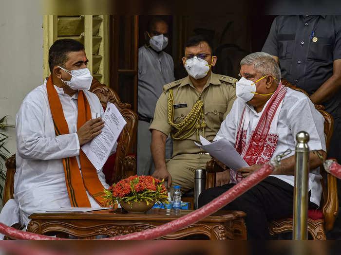 Kolkata: West Bengal Governor Jagdeep Dhankhar with Leader of Opposition Suvendu...