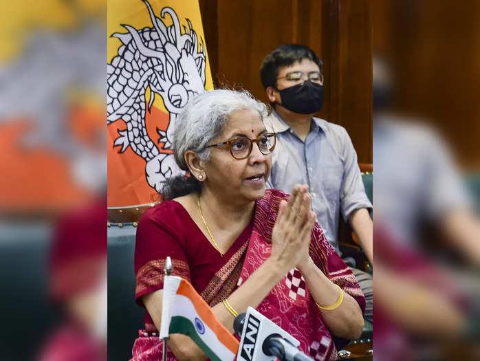 New Delhi: Finance Minister Nirmala Sitharaman during the launch of BHIM–UPI in ...