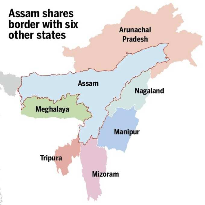 Assam shares border with 6 states