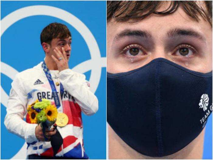 tokyo olympic 2021 diving champion tom daley sheds tears for late father