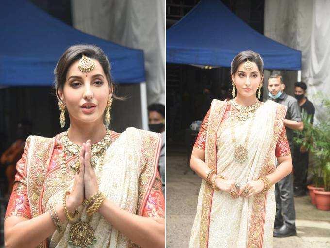 nora fatehi looks beautiful white saree: lifestyle nora fatehi looks drop dead gorgeous in white saree | Navbharat Times Photogallery