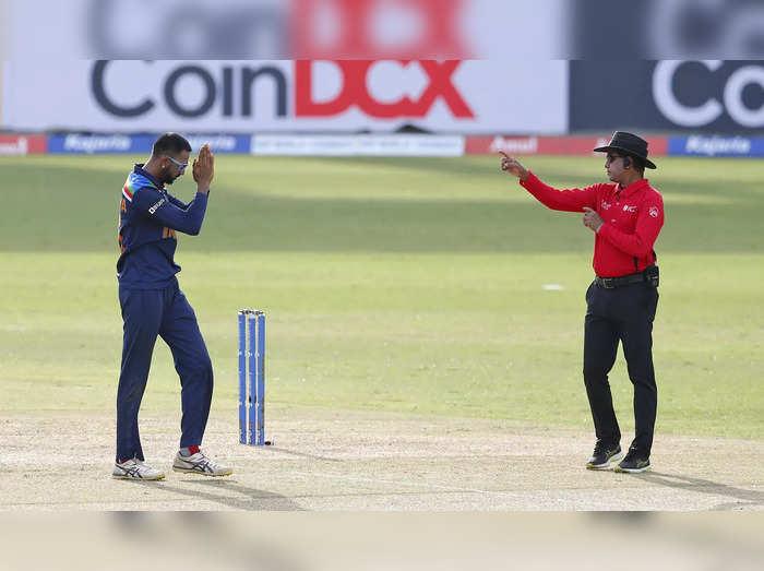 Colombo: Indias Krunal Pandya celebrates taking the wicket of Sri Lankas Dhana...