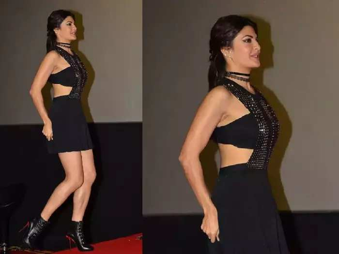 actress jacqueline fernandez wore bold black dress for red carpet event faced oops moment