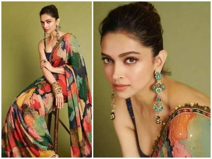 bollywood actress deepika padukone brutally trolled for black saree and bold blouse look designed by sabyasachi mukherjee