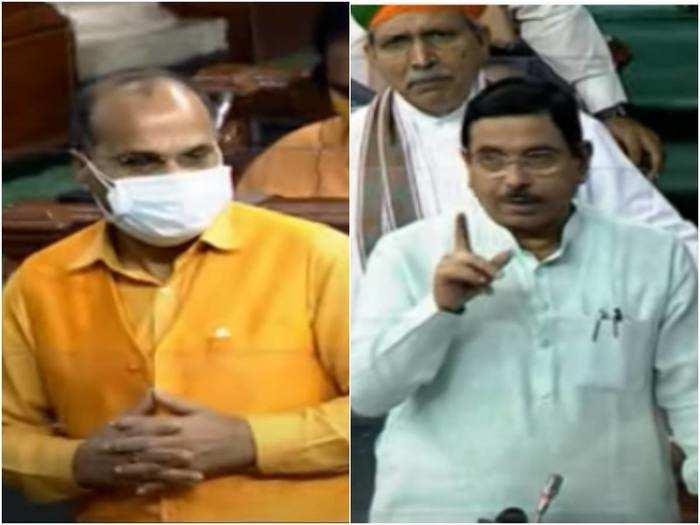 verbal spat between adhir ranjan chowdhury and pralhad joshi, speaker om birla intervenes