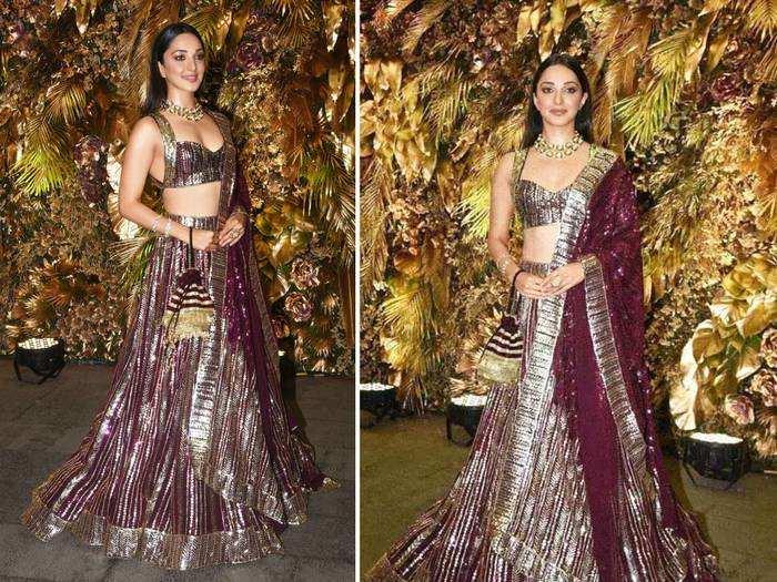 kiara advani looks beautiful in gold risque blouse and lehenga by abu jani sandeep khosla