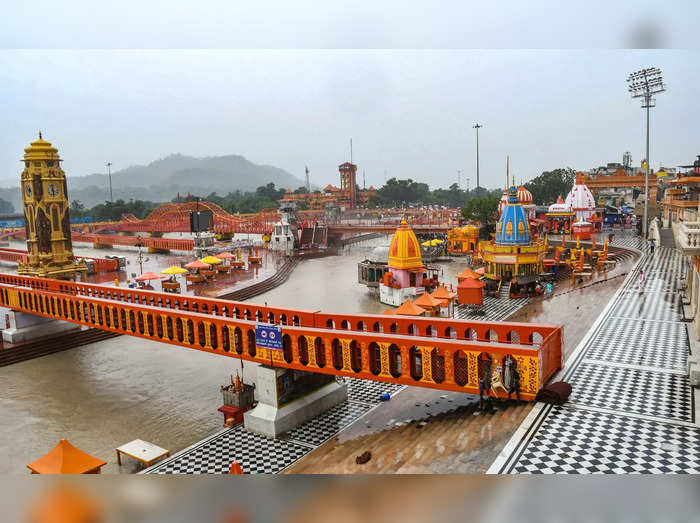 Haridwar: A deserted view of Har Ki Pouri on the occasion of Ganga Dussehra fes...