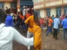fiercely fights in youths for try to enter in vaccination center after breaking line in agar malwa madhya pradesh video goes viral