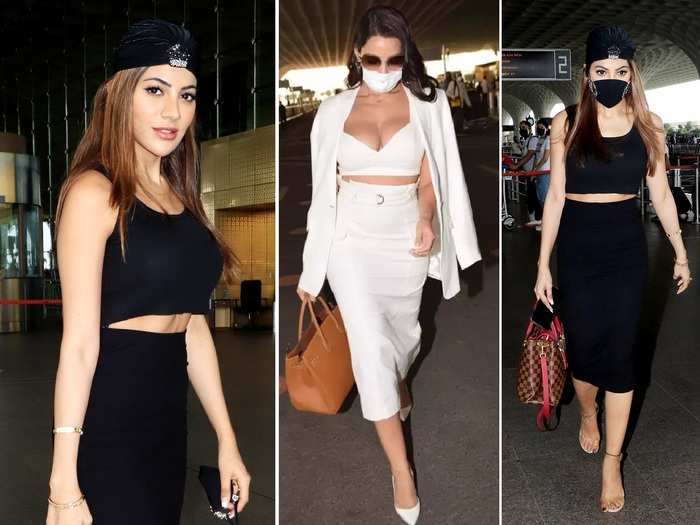 nikki tamboli looks drop dead gorgeous in black skinny fit skirt top reminded us of nora fatehi