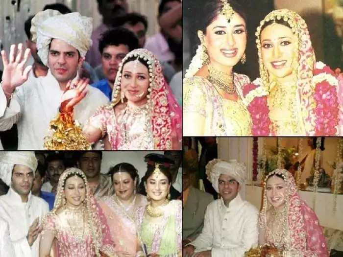 actress karisma kapoor wore pink heavily embroidered lehenga choli for her own wedding