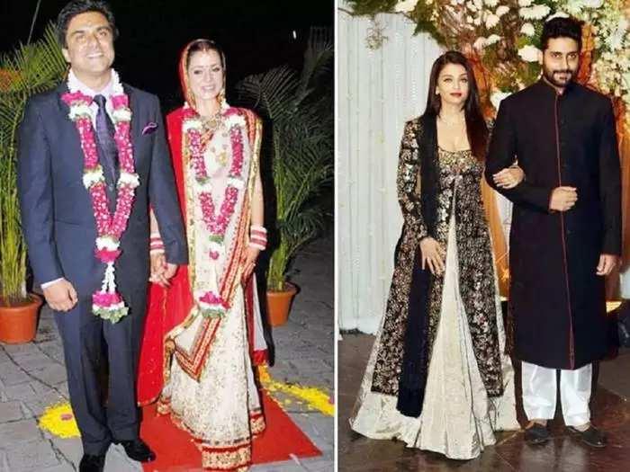 actress aishwarya rai bachchan wore beautiful pink anarkali dress for sameer soni and neelam kothari wedding reception party