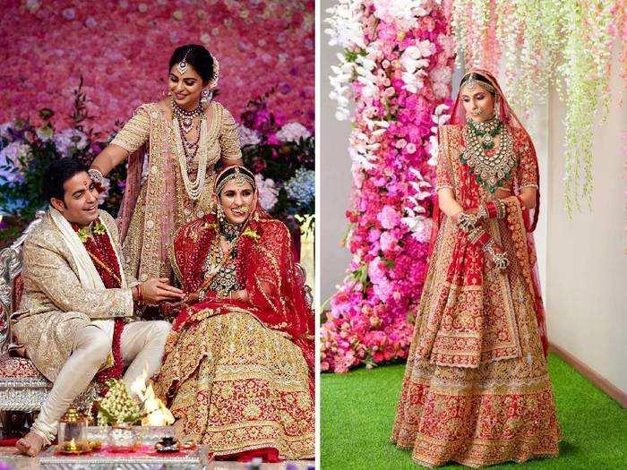 shloka mehta looks beautiful in red floral lehenga for isha ambani wedding