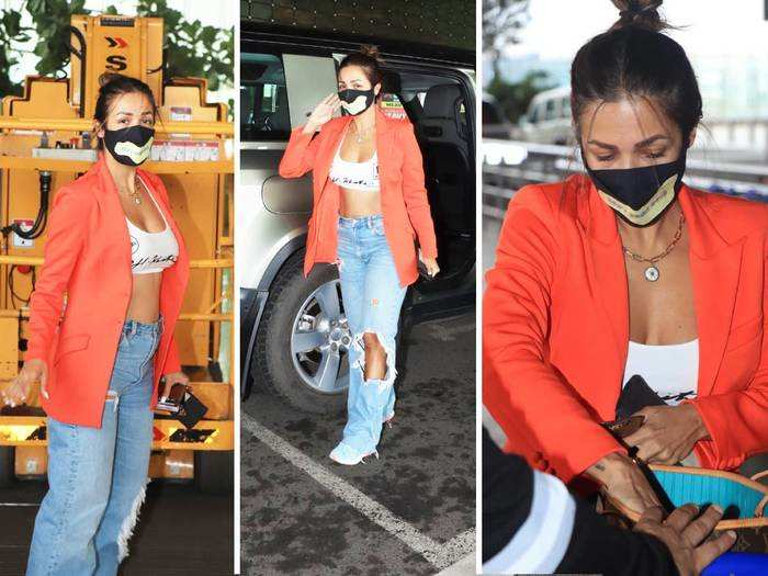 malaika arora looks super hot in bralette top and jeans with arjun kapoor land rover suv car