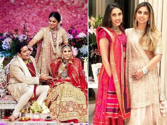 isha ambani wore pastel pink lehenga designed by sabyasachi mukherjee for akash ambani and shloka mehta wedding