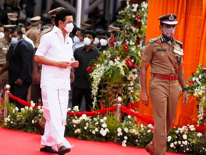 Chief minister M K Stalin and DGP C Sylendra Babu