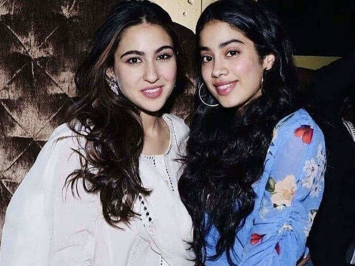 janhvi kapoor and sara ali khan looks beautiful in same outfit ice blue tulle dress