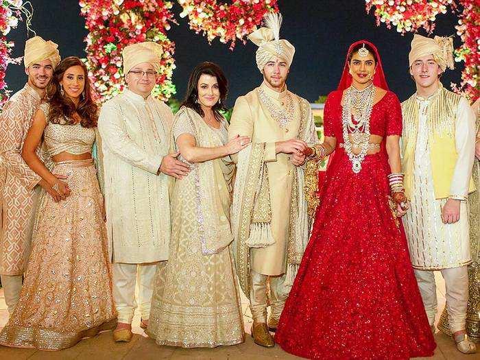 priyanka chopra wore two-toned silk dress for attends nick jonas cousin wedding