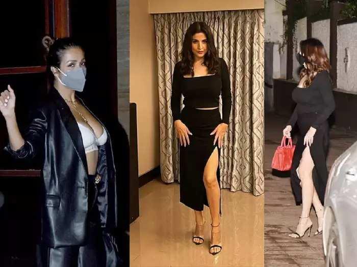 actor sanjay kapoor wife maheep kapoor wore black bold slit dress at seema khan party see malaika arora hot look
