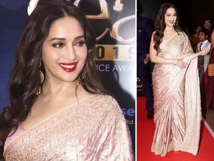 actress madhuri dixit wore peach floral embroidered saree for akash ambani shloka mehta engagement party