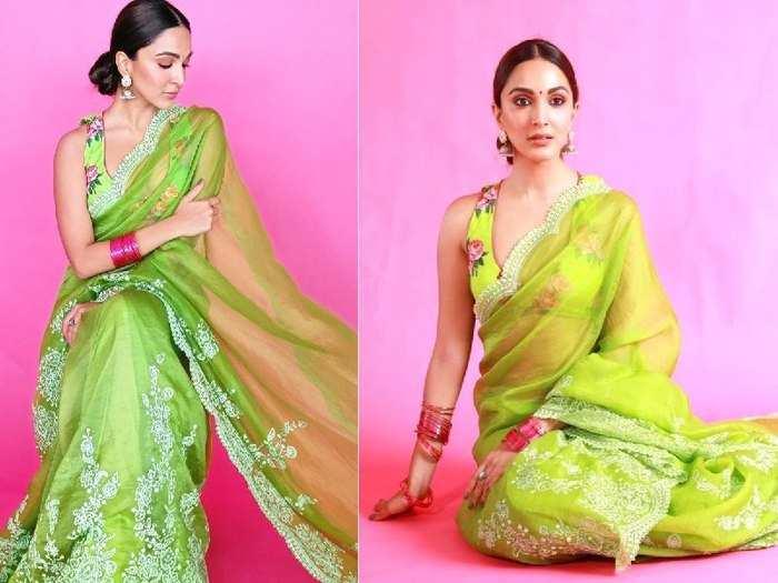 shershaah kiara advani green saree: कियारा आडवाणी ने बैकलेस ब्लाउज में शेयर कर दी ऐसी तस्वीरें, बंदा बोल पड़ा 'मां.. बहू मिल गई' - Navbharat Times