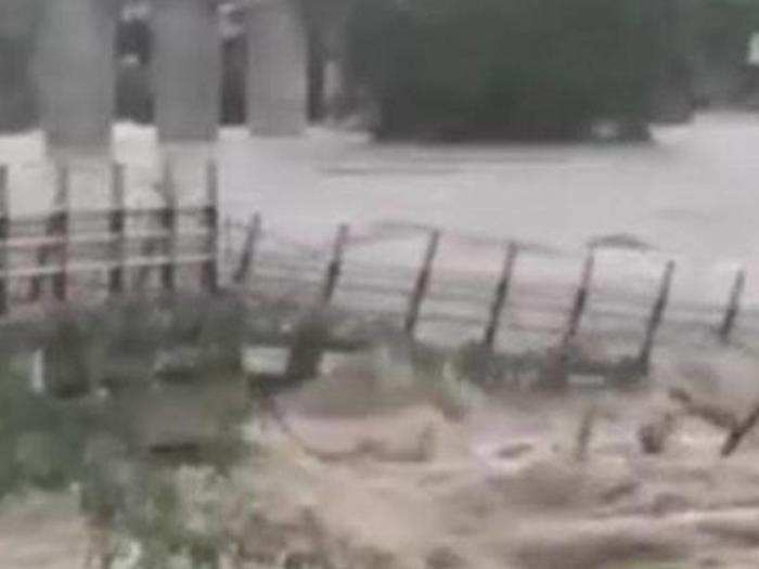 The bridge on river Sindh in Datia washed away in flood on Tuesday.