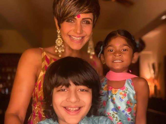 Mandira Bedi with kids