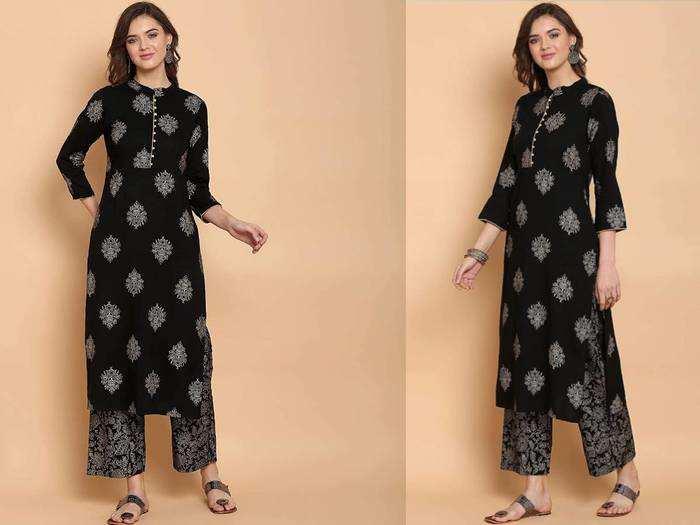 खूबसूरत और स्टाइलिश लुक के लिए जरूर ट्राय करें ब्लैक कलर के प्रिंटेड और प्लेन Salwar Suit Set