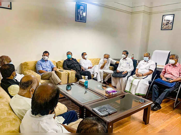 New Delhi: Leaders of Opposition parties hold a meeting at the Parliament in New...
