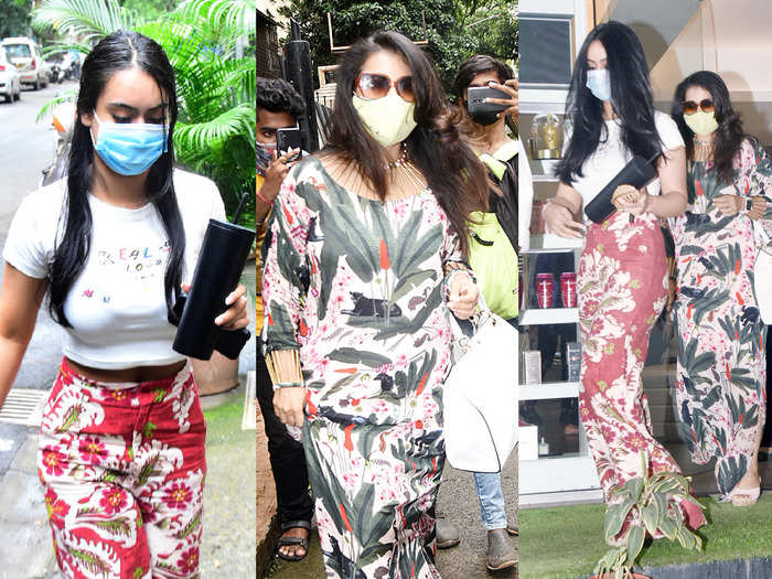 nysa devgan fitted top and flared pants look is more attractive than kajol maxi dress