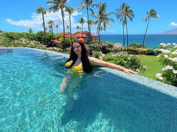 Trishala shared a photo in a yellow bikini
