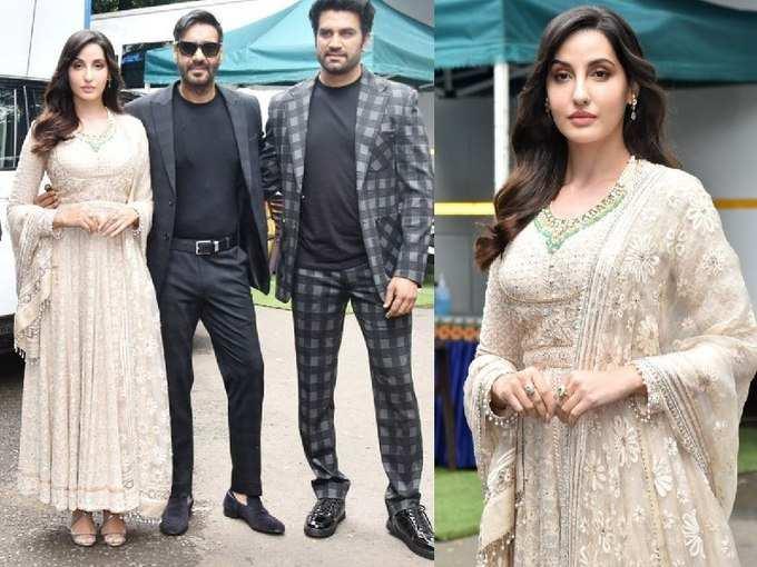 अजय देवगन संग सुंदर कपड़ों में नोरा फतेही के चेहरे पर दिखा नूर, खूबसूरती देखते रह गए लोग