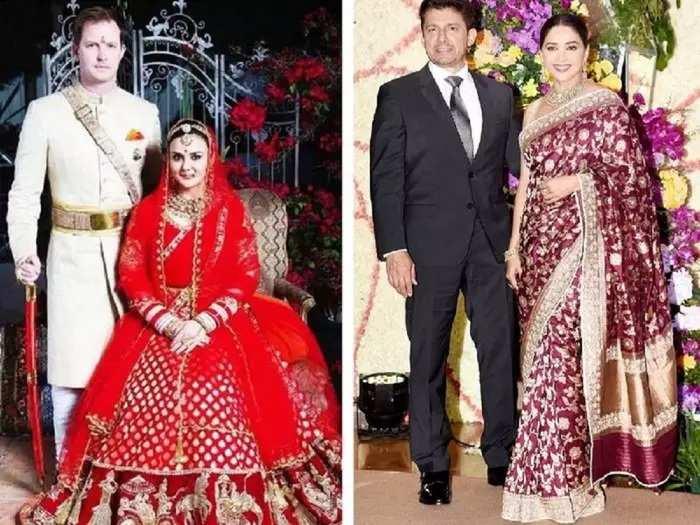 bollywood actress madhuri dixit wore blue kurta set at preity zinta wedding reception by anju modi collection