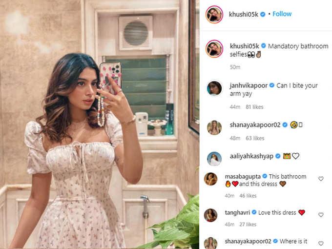 Khushi Kapoor posts mandatory bathroom selfies