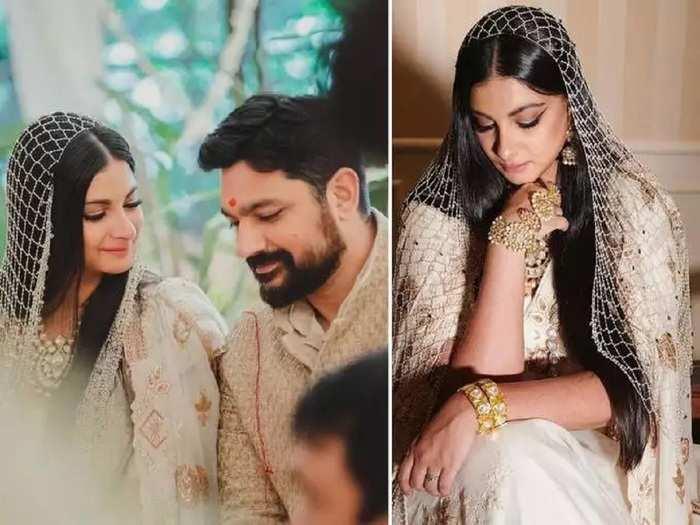 actress sonam kapoor sister rhea kapoor wore beautiful white chanderi saree for her own wedding