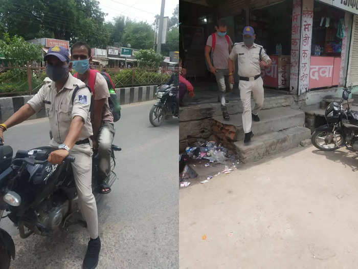 labour tulsidas ahirwar gets bodyguard as soon as he reaches tikamgarh madhya pradesh from delhi, police man walking along for 24 hours
