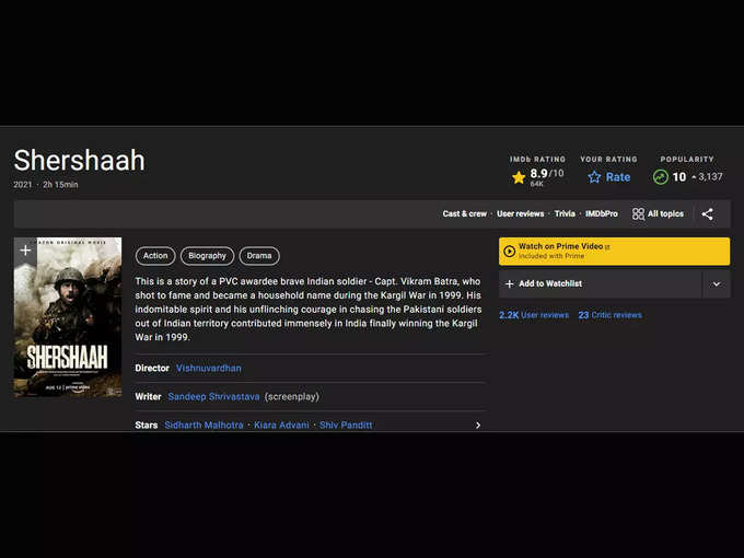 Shershaah rating