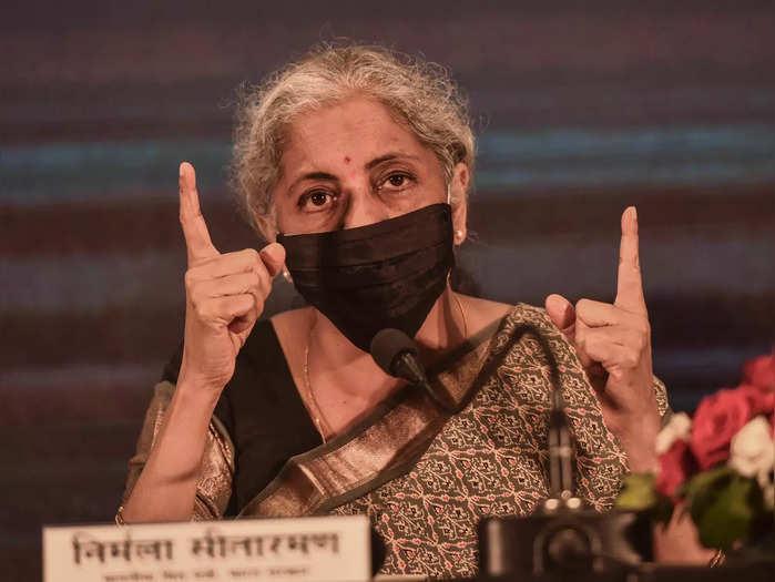 Lucknow: Union Finance Minister Nirmala Sitharaman addresses a press conference ...