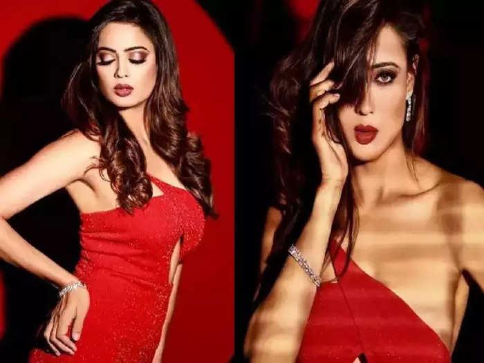actress shweta tiwari wore red thigh high slit one shoulder dress for photoshoot hot look viral