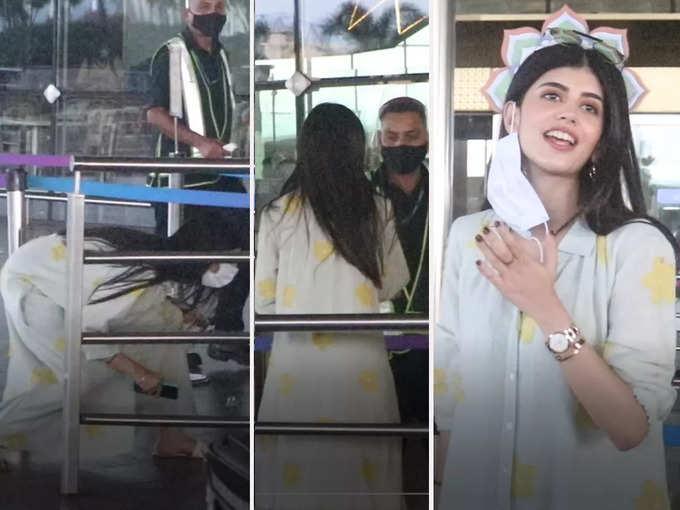 Sanjana Sanghi was seen crossing the airport barricad