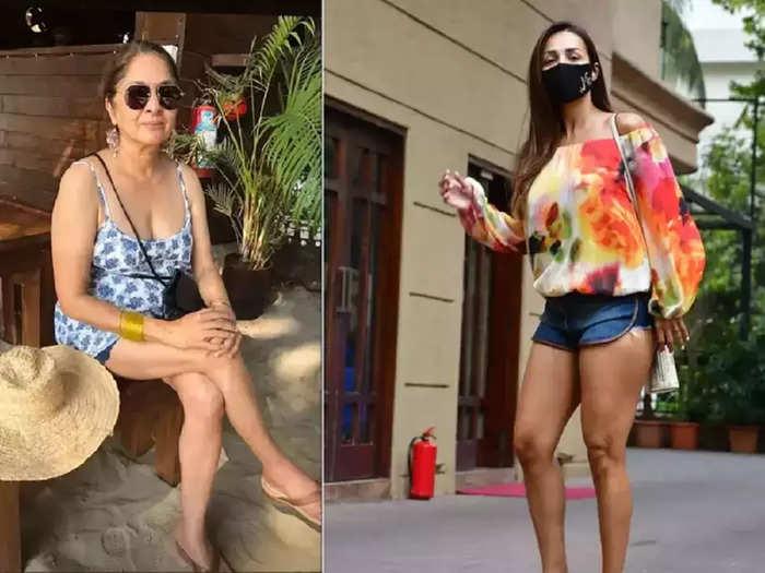 bollywood actress neena gupta glamorous and beautiful in black color shorts and sleeveless top instagram video viral