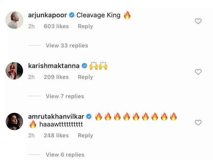 Arjun's comment on Ranveer's post
