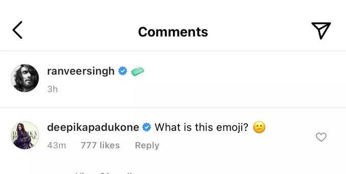 Deepika's comment on Ranveer's post