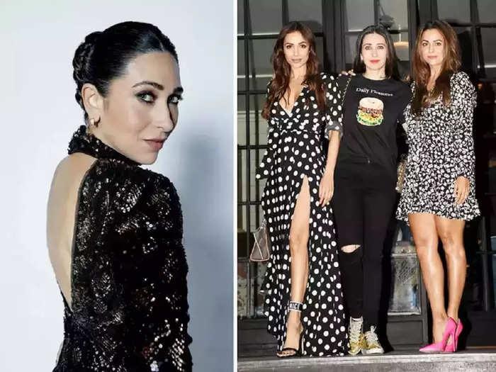 bollywood actress karisma kapoor wore red hot short dress for malaika arora birthday party designed by rimzim dadu