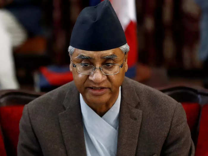 FILE PHOTO_ Nepalese Prime Minister Sher Bahadur Deuba announces his resignation in Kathmandu.